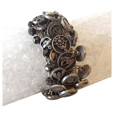 Vintage Wide Stretch Mesh Bracelet Covered in Old Buttons