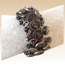 Vintage Wide Stretch Mesh Bracelet Covered in Old Buttons