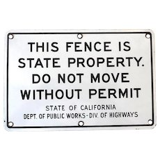 Black & White Porcelain Sign State of California