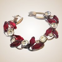 Fabulous Chunky Rhinestone Bracelet Clear and Ruby Red