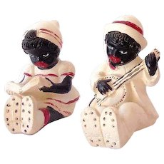Unusual 1930s-1940s Chalk Pair Black Americana Boy and Girl