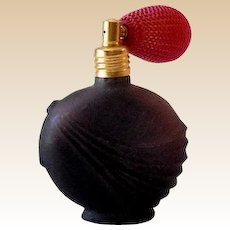 Pretty Black Satin Glass Perfume Bottle With Atomizer