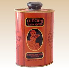 Scarce 1920s-1930s Cuticura Talcum Powder Tin Great Graphics