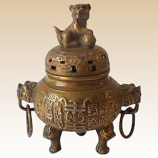 Antique Brass Incense Burner Foo Dog and Dragon