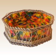 Large Octagon Shaped Czech Art Glass Bowl in Wicker Holder