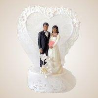 1980s Wedding Cake Topper Black Americana Bride & Groom