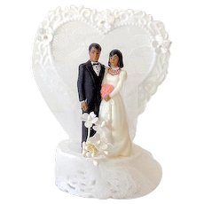 1980s Wedding Cake Topper Black Americana Bride & Groom