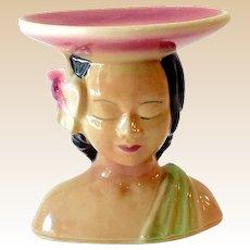 Lovely Shawnee Pottery Hawaiian Polynesian Lady Head Vase