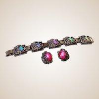 "Gorgeous Vintage Set Iridescent Stones Bracelet & Earrings Signed ""ParkLane"""