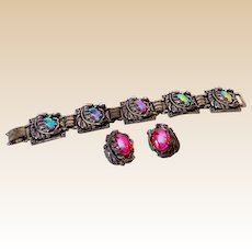 "Gorgeous Vintage Set Iridescent Stones Bracelet & Earrings Signed ""ParkLane"""