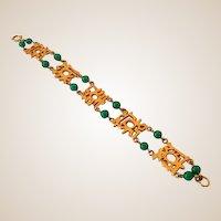 Signed Bracelet Goldtone Asian Design & Green Stones