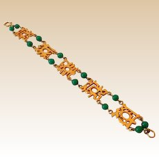 Signed Bracelet Goldtone Asian Design & Green Stones