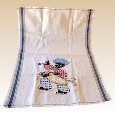 1940s Hand Embroidered Dish Towel Black Americana