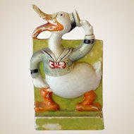 1930s Disney Bisque Toothbrush Holder Long Bill Donald Duck