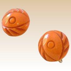 1930s Carved Bakelite Butterscotch Screw Back Earrings