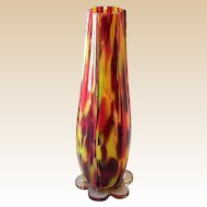 Large Clear Cased Czechoslovakian Art Glass Vase