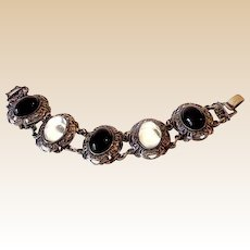 Wide Vintage Bracelet With LARGE Black and Cleat Stone