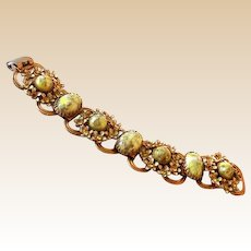 Vintage Gold Tone With Green Stones Bracelet