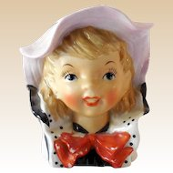 Sweet Vintage Lady Head Vase Young Girl