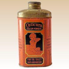 1920s-30s  Cuticura Talcum Powder Baby Powder Tin Great Graphics