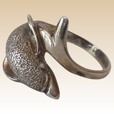 Sterling Silver Dolphin Ring Size 7.4