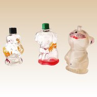 (3) Vintage Figural Glass Perfume Bottles Duck Puppy and Frosted Bonzo Dog