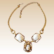 Fabulous Selro Selini Necklace with Thick Gold Tone Snake Link Chain
