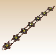 Vintage Bracelet Green and Pink Rhinestones on Bronzed Metal