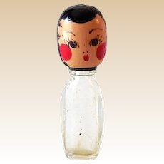 One Figural Karoff Perfume Bottle With Wood Head/Cap