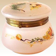 Signed Frosted Pink Glass Antique Dresser Jar Powder Jar Signed