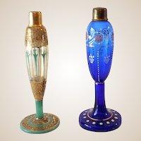 (2) Art Deco Era Czechoslovakian Art Glass Perfume Bottles