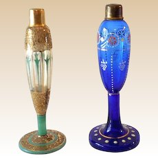 (2) Art Deco Era Czechoslovakian Art Glass Perfume Bottles
