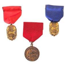 (3) Award Ribbon and Medal Pinbacks Michigan School Band & Orchestra