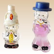 "(2) Miniature Figural Men Perfume Bottles Marked ""HOLLAND"""