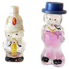 "(2) Miniature Figural Men Perfume Bottles Marked ""HOLLAND"""