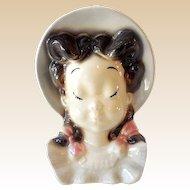 1940s Royal Copely Girl Head Vase Wall Pocket