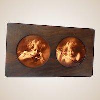 Victorian Double Prints In Oak Fram Cupid Awake and Asleep