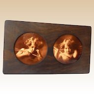 Victorian Double Prints In Oak Fram Cupid Awake and Asleep