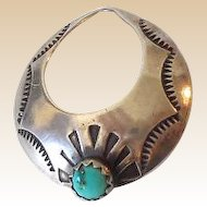 Vintage Navajo Sterling Silver and Turquoise Pendant