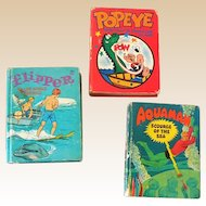 (3) 1960s Big Little Books Flipper Aquaman and Popeye