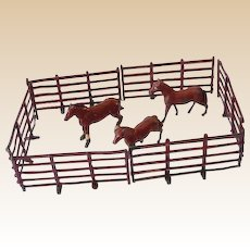 (9) Piece Lead Toy Horses and Corral Fence