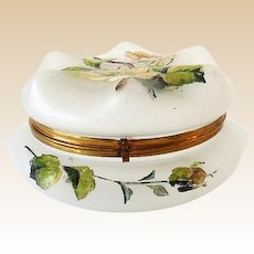 Hand Painted Frosted Glass Dresser Box with Hinged Lid