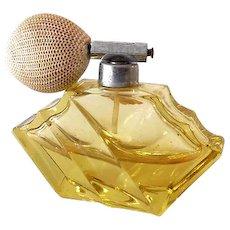 Art Deco Era Yellow Crystal Perfume Bottle With Atomizer Germany