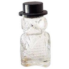 Figural Glass Perfume Bottle Well Dressed Gentleman DOG!