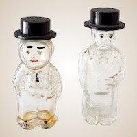 (2) Vintage Figural Glass Perfume Bottles Well Dressed Men in Hats