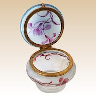 Blown Glass Hand Painted Victorian Dresser Jar Powder Jar