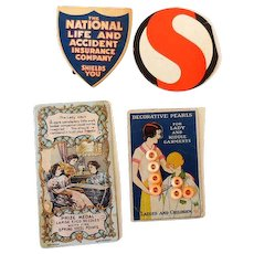 (4) Nice Vintage Sewing Items Buttons on Card & Needle Books