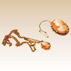 9K Gold  Shell Cameo Brooch and Necklace Set