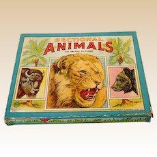 1930s Milton Bradley Children's Animal Puzzles Set of 6 in Box