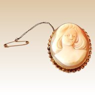 Unusual Carved Shell Cameo Young Girl 9k Gold